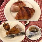 129380164 - リヨネーズ クロワッサン                       マロンパイ りんごのタルト・フィヌ                       ホットコーヒー
