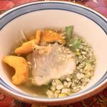 129394155 - 鯛のお刺身 上湯スープ掛け