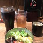 釜あげスパゲッティ すぱじろう - 銀座セット390円。アイスコーヒーとサラダをお願いしました。サラダの量が少なくて。。。