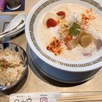 鯛白湯らーめん ○de▽ - 鯛白湯「とろり」+燻製玉子 と鯛めし(小)