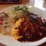 129474567 - オムライス 本日の魚料理 サラダ(2020年4月)
