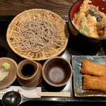 129490577 - 天丼セット(ご飯多め)、おいなりさん