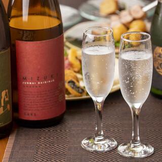 イタリアンと相性の良い日本酒はオーナー厳選の「月山」のみ提供