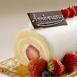 シェルブルー - 料理写真:アニバーサリーケーキ 記念日にお祝いを