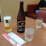 中華厨房 ゆうえん - 中瓶ビール・サッポロ黒ラベル550円