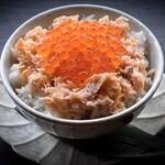 鮭ハラスと出汁漬けいくらご飯