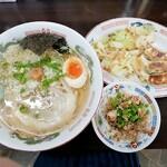 岡山らぁめん 麺屋照清 - 岡山塩ラーメンとドッカンセット