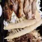 129585194 - 今帰仁アグーの炭火生姜焼き                       白子筍                       見蘭牛のおこわ