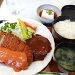 レストランきく松 - 料理写真:ハンバーグ&チキンカツ定食。