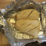 サンバ - 最後にこの店の鳥皮と並ぶ人気商品のササミのしぎ焼き2本セット360円。  ササミをレアに焼き上げ山葵醤油で食べる絶品です。