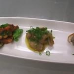 ロトカフェ - ランチB(前菜:ホタルイカと大豆のトマト煮、茄子のマリネ、レバーペースト)
