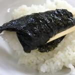 極楽汁麺 らすた - ライスを海苔で巻くと旨いよね(*^^)v
