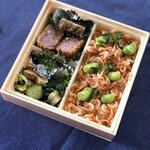 129765570 - 季節の土鍋ご飯+ハムカツ弁当