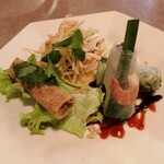 129807954 - ランチセットの前菜。春巻がうまい。