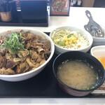 吉野家 - スタミナ超特盛丼+Aセット(サラダ・みそ汁)