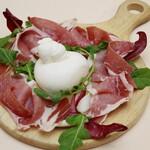 エリオ・ロカンダ・イタリアーナ - 料理写真:Fattoria Bioのブッラータとパルマ産生ハム