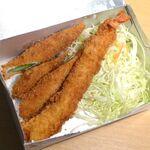 名古屋名物 みそかつ 矢場とん - 海老フライ(¥990)、アスパラ巻(¥880)。ケチャップをブレンドしたウスターソースで頂きます