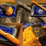 喝采 - イタヤ貝の磯辺揚げ&アスパラ。アスパラは追加メニューとしても人気です。