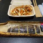 かつ庵 - 鶏のからあげ おばあちゃん風チリソース・炙り鯖棒鮨 竹包み