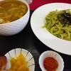 権八 - 料理写真:明日葉カレーつけ麺(ご飯付)