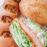 ナガノベーカリー - 料理写真:ごぼうフランス、塩バターフランス、海老アボカドサンド