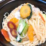 129942928 - 白身魚と野菜のオイルソースパスタ