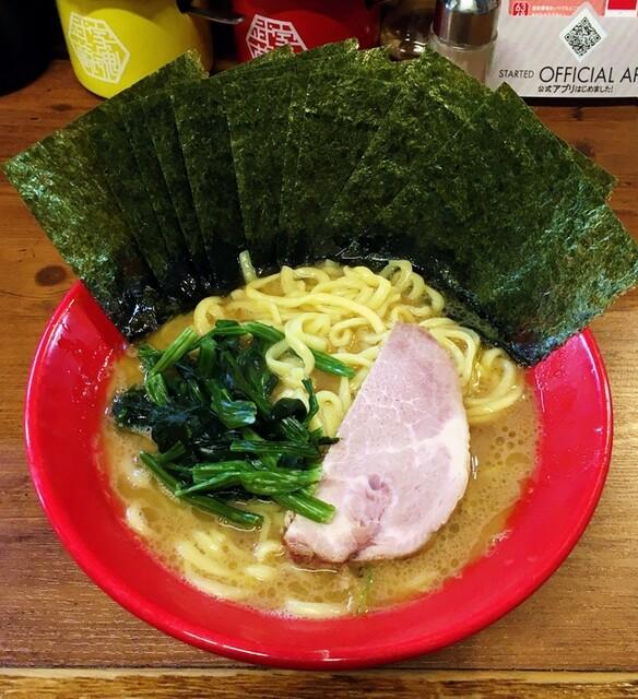 武蔵家 - ラーメン730円麺硬め。海苔増し100円。