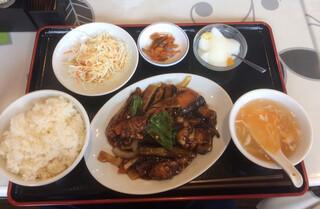 萬福 - ナスとカキのオイスターソース炒め定食  890円