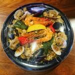 八幡バル8 - 料理写真:魚介のパエリアお持ち帰り用