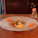 アクア スペランツァ - アオリイカと炙り太刀魚のカルパッチョ