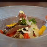アクア スペランツァ - アオリイカと炙り太刀魚のカルパッチョアップ