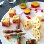 Ar's Italian Cuisine - いんげんワイン煮、人参キッシュ、さつまいもグラッセ、かぼちゃきんとん・蓮根チップ