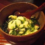 nihonryourisugawara - 上の餡と海苔と下の豆乳蒸しを良く混合わせて