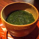 nihonryourisugawara - 鮑としめじの豆乳蒸し磯辺餡かけ。
