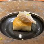 hiroto - 天然虎フグの焼きリゾット 四角に焼き固めたリゾットにフグのお出汁のスープを合わせた、洋風のお茶漬けの様なお料理です♪