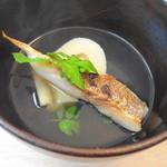 八雲茶寮 - 白子筍と鯛の炊き合わせ