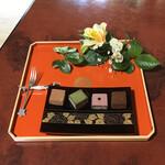 京都生ショコラ オーガニックティーハウス - ●チョコセットとお飲み物¥1100税込