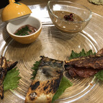 鮨 清水 - 酒盗、塩辛、干しホタルイカ、へしこ、鮭トバ