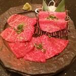 焼肉 いのうえ - 名物いのうえロース3種盛り合せ 1980円