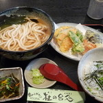 杜の台処 - 季節の野菜天ぷらうどんとミニしらす丼のセット