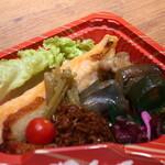 130206783 - 鮭ハラス、さつまあげ、ミニトマト、鮪のおかか、鶏肉、茄子、ズッキーニの煮物、蕗煮物、しば漬け、高菜漬け