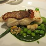 ビストラン エレネスク - 九州の天然鯛のポワレ、緑の野菜とアサリ、パセリのソース