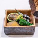 130274614 - ナマコ、このわた、大根おろし 黒豆、白和え 数の子 菜の花のお浸し、唐墨