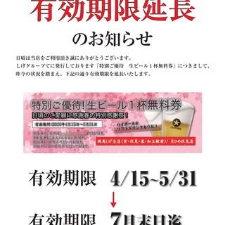生ビール優待券のお知らせ