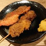 肉の佐藤 - 2020年4月 串カツ+紅生姜フライ 100+120円+税