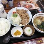 山田うどん食堂 - 料理写真:生姜焼き定食 Aセット 950円税込