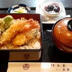 割烹食堂 伊豆菊 - 揚げたてホクホクの天丼 (1180円也)