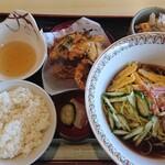 竹庵 - 冷やし中華ランチ  天ぷらと冷奴付いてました