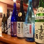 宮本 - カウンター上にはずらりと酒瓶が並んでいます 空瓶ですけど(笑)目の毒です