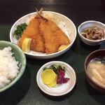 宮本 - 鯵フライ定食 全景 これで900円